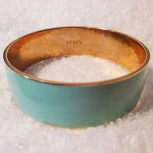 J Crew signed Teal & golden tone Bracelet ~ Bangle